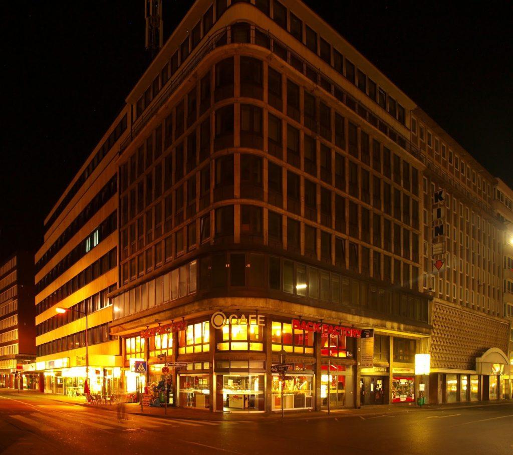 noc, wieżowiec, budynek, firma,