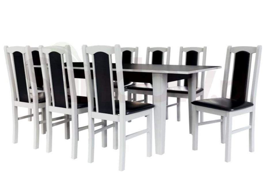 biało-czarny stół i krzesła Sandow